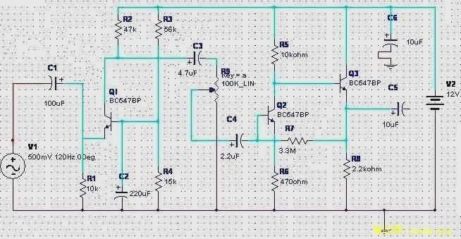 动圈式麦克风前置放大器电路