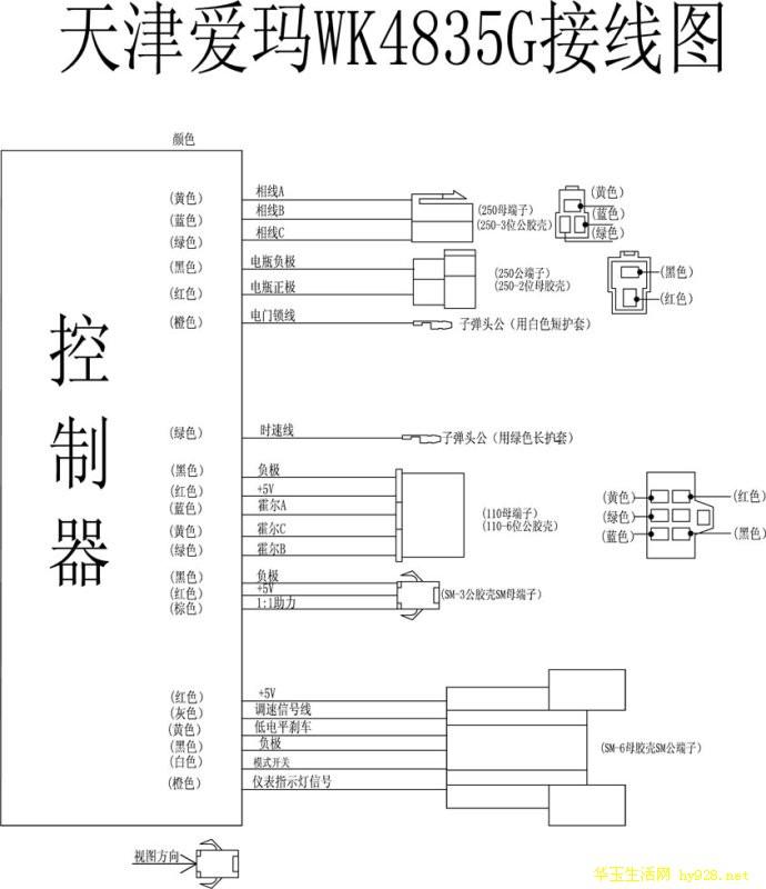 各种电动车控制器接线图和实物图